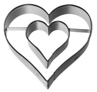 Ausstechform Herz mit Innenherz, Edelstahl, 6 cm