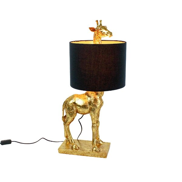 Giraffen-Tischleuchte Lucie, schwarz/gold