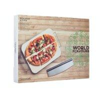 KitchenCraft World of Flavours Pizzastein und -schneider