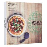 KitchenCraft World of Flavours Pizzastein und -schneider,...
