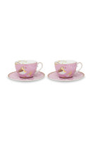 Set/2 Cups & Saucers Early Bird Pink 280ml