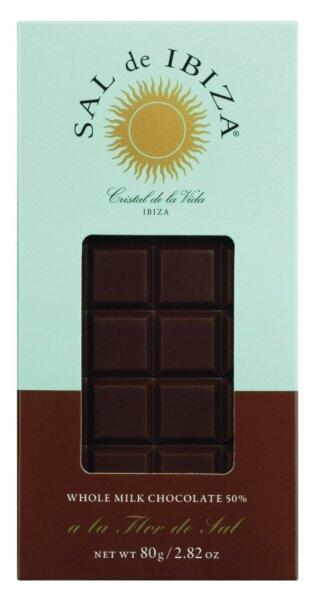 Vollmilchschokolade 50 % mit Fleur de Sel, Bio