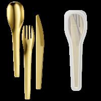 Besteck-ToGo Edelstahl 3tlg gold